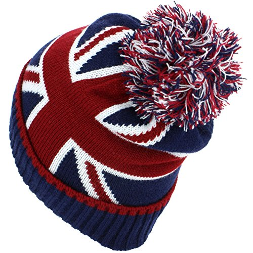 618nG23YCcL. SS500  - Macahel Union Jack Bobble Beanie Hat with Super Soft Fleece Lining