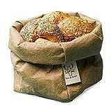 bun-di Swiss® - KREMPELBOX M   Kleiner Brotkorb, Utensilo, Aufbewahrungskorb, Deko-Übertopf, Geschenkbox   Waschbares Papyr mit Lederoptik (Veganes Leder)   ca.12,5cm Ø (Choco)