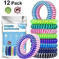 Beikell [Lot de 12] Bracelet Anti-Moustique, Bracelets Anti-Moustiques Naturel- 100% Huile Essentielle – sans DEET - 250h Protection Intérieure et Extérieure pour Enfants et Adultes