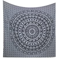 Kesrie Wall décor art hippie boho tapestry hanging black and white elephant print