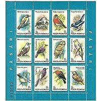 Foglietto di 12 uccelli diversi con nomi latini / numero di serie originale - 12 francobolli emessi nel 1991 / Romania / Mint e Unmounted - Francobolli Uccelli