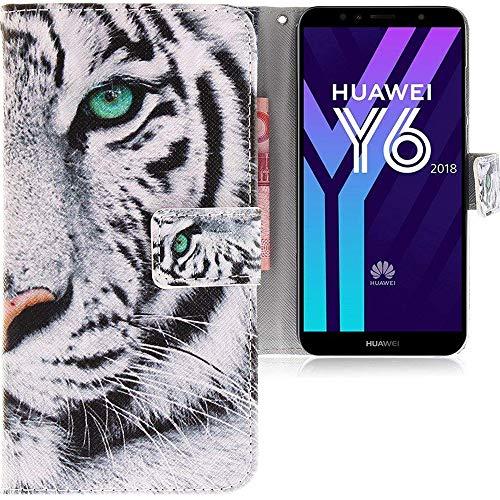 CLM-Tech Huawei Y6 2018 Hülle, Tasche aus Kunstleder Tiger weiß schwarz, PU Leder-Tasche für Huawei Y6 2018 Lederhülle