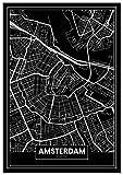 Panorama® Poster Karte Schwarz von Amsterdam 50 x 70 cm |