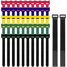 """52 PC gancho y lazo Strips, Senhai 12 """"y 6"""" Cintas adhesivas de uniones de cable correas de cable para la gestión de cables de sujeción Cording"""