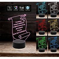Lampada led 7 colori PERGAMENA personalizzabile con frase Luce da notte Idea Regalo San Valentino Anniversario Compleanno Arredo casa Light night