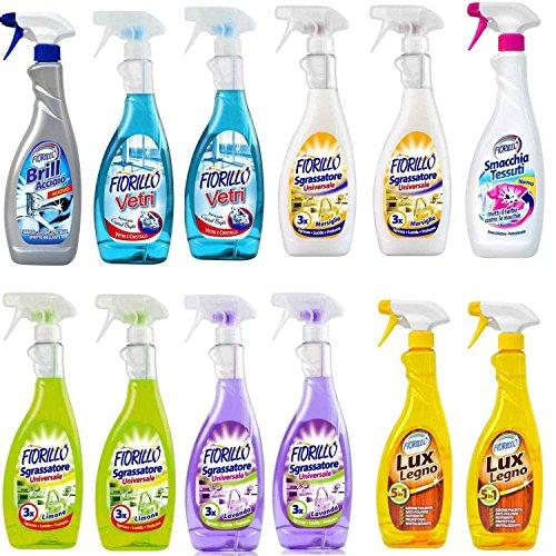 12 x Detergenti da 750ml - 1xAcciaio 2xVetri 6xSgrassatore (Marsiglia, Limone e Lavanda) 1xTessuti 2xLegno - Totale 9LT