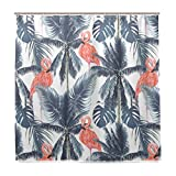 ShineSnow Badezimmer Dusche Vorhang Pink Flamingo mit Grau Palm Tree Leaves Design Haltbarer Stoff Bad Vorhänge Schimmelresistent Wasserdicht Badezimmer mit 12Haken 183,0cm x183,0cm