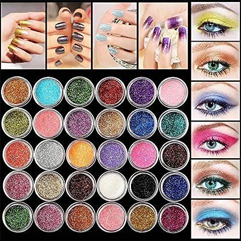 VWH Glitter Eyeshadow 30 Farben Mix Glitter Puder Lidschatten Eyeshadow Kosmetik Schminke Makeup Set
