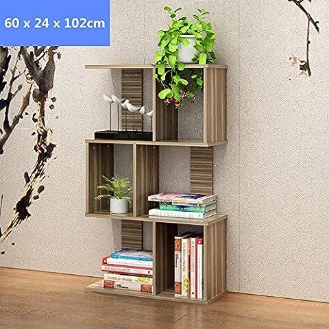Blueidea® Scaffale Libreria Tre-Strati Mensola Noce Scarpe di Legno Mensola Scaffale Log Stile Combinazione DIY per Bambini Studenti, Modo Decorazione per Casa