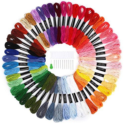 Matassine punto croce soledi 50 colori filo da ricamo cotone poliestere con 12 bobine di filo,10 aghi da ricamo, 1 infila aghi usato per ricamo - punto croce - amicizia braccialetti - mestieri set ricamo