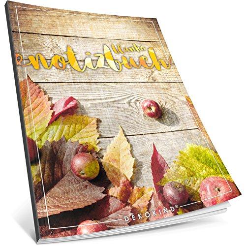 Dékokind® Blanko Notizbuch: Ca. A4-Format • 100 Seiten mit Inhaltsverzeichnis • Perfekt als Zeichenbuch, Skizzenbuch oder Tagebuch • ArtNr. 10 Herbstlich • Softcover