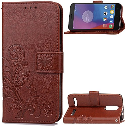 EKINHUI Case Cover Double Magnetic Back Sucktion Retro Style PU Leder Flip Stand Case mit Kickstand und Wallet Beutel Funktion für Lenovo K6 ( Color : Rose ) Brown