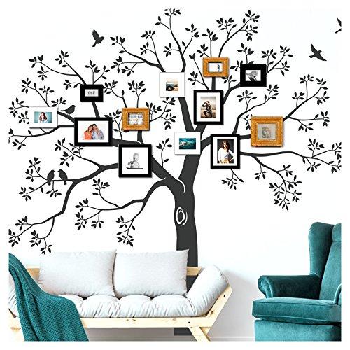 Wandora W1512 Wandtattoo XXL Baum I schwarz (BxH) 200 x 195 cm I Wohnzimmer Flur Aufkleber selbstklebend Wandaufkleber Wandsticker -