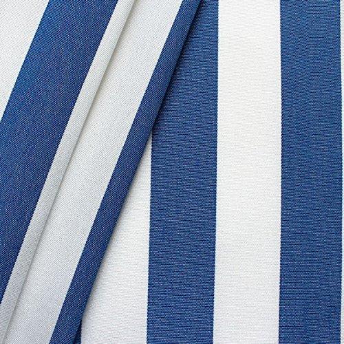 STOFFKONTOR Markisenstoff Outdoorstoff Streifen Breite 160cm Meterware Blau-Weiss - Stoff Und Gestreiften Weiß Blau