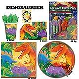 Dinosaurier T-Rex Party Teller Becher Servietten Einladungen Mitgebsel-Tüten Mitgebsel 88 Teile für 8 Kinder
