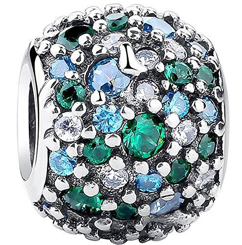 SaySure - 925 Sterling Silver Ocean Mosaic Charm Green CZ