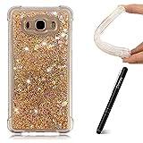 Slynmax Kompatibel mit Galaxy J7 2016 Hülle,Galaxy J7 2016 Handyhüllen Silikon Treibsand Case Weich Durchsichtige Handytasche Glitter Tasche Bumper Protective Case für Samsung Galaxy J7 2016,Gold