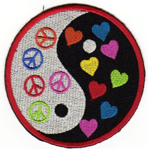 Aufnäher Bügelbild Aufbügler Iron on Patches Applikation Yin Yang Herz Peace Zeichen - Jeans Peace-zeichen