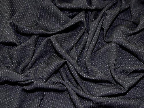Wolle Nadelstreifen Passend (Italienische Wolle Blend Nadelstreifen Crepe passend Dress Stoff, Meterware, Schwarz)
