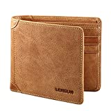 Mens Wallet, Lensun Genuine Cowhide Leather Wallet for Men