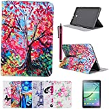 Galaxy Tab E 9.6-Inch SM-T560 Case, Galaxy Tab E 9.6-Inch SM-T561 Cover, DEENOR Oil painting Design Flip Case PU Leather Cover Stand Case for Samsung Galaxy Tab E 9.6-Inch SM-T560 / T561 / T565. (Painting tree)