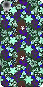 The Racoon Grip printed designer hard back mobile phone case cover for HTC Desire 820. (Blue Straw)