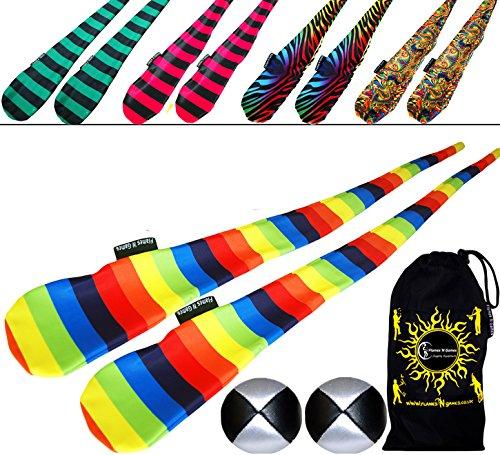 Flames N Games FUNKY® Pro Socken-Poi (5 Entwürfe) Sock Poi Set inkl. 2x Beanbags Bälle & Reisetasche. Swinging Poi und Spinning Pois! Pois für Anfänger und Profis. (Jail-Boy) -