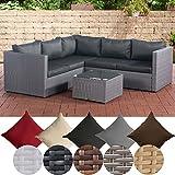 CLP Poly-Rattan Lounge-Set GENERO l Garten-Set mit 5 Sitzplätzen l Garnitur mit Aluminium-Gestell l Komplett-Set bestehend aus: 3er Sofa + 2er Sofa + Tisch anthrazit, Grau