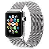 MMOBIEL Uhrenarmband (42 mm) Super Slim rostfreier Edelstahl Milanaise Armband Ersatz für Alle Apple Watch Serien (Silber)