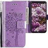CLM-Tech kompatibel mit LG Q6 Hülle Tasche aus Kunstleder, PU Leder-Tasche Lederhülle, Baum Katze Schmetterlinge lila, PU Leder-Tasche für LG Q6 Lederhülle