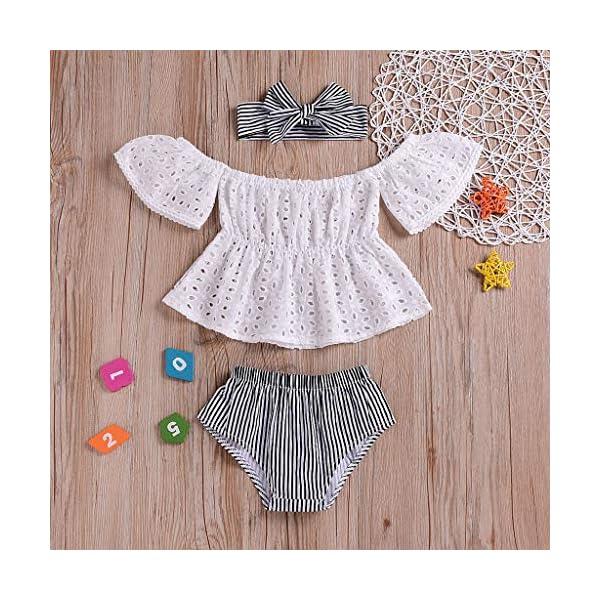 PAOLIAN Conjuntos para Bebe Niñas Verano Recién Nacidos Camisetas Sin Tirantes Manga Corta Pantalones Corto Diademas… 3