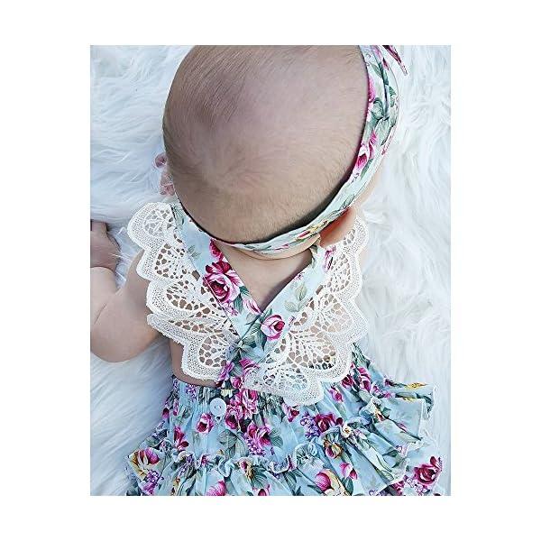 Covermason Bebé Niñas Floral Impresión Monos Linda Bodies Mameluco y Diademas (1 Conjuntos) (12-18M, Azul) 3