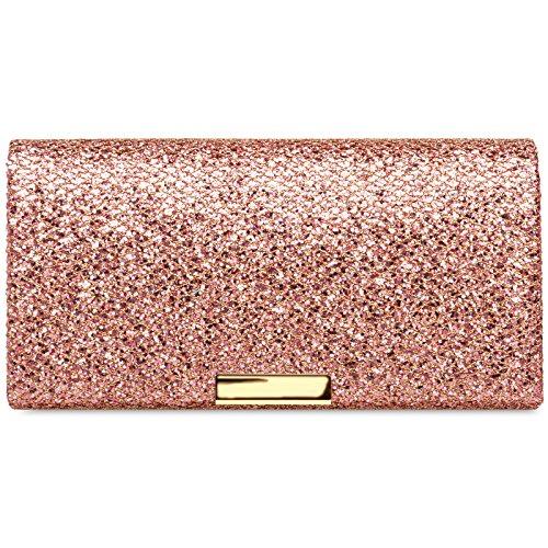 Caspar TA342 Damen kleine elegante Glitzer Clutch Tasche Abendtasche, Größe:One Size, Farbe:rosa