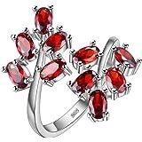 HMILYDYK - Anello aperto da donna, a forma di ramo, con cristalli color rosso rubino, placcato in argento Sterling S925 con z