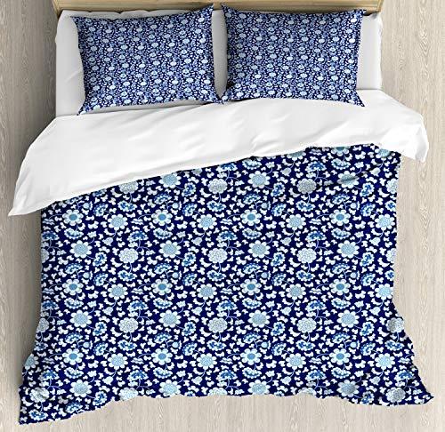 ABAKUHAUS Blumen Bettbezug Set King Size, Chinesisches Porzellan-Motiv, Kuscheligform Top Qualität 3 Teiligen Bettbezug mit 2 Kissenbezüge, Nachtblau Kobalt-Blau und Weiß
