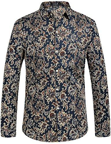 80er Jahre Herren Mode - SSLR Herren Hemd Langarm Baumwolle Paisley