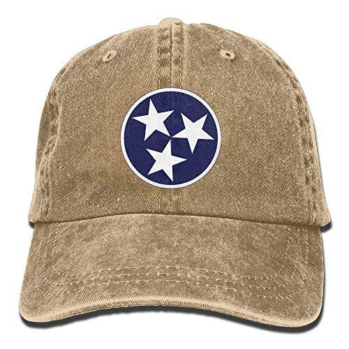 flys Tennessee Tri Star Flag Vintage Verstellbarer Denim Hut Baseball Caps ForAdult -