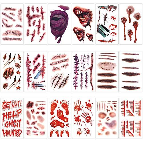 18 Hojas de Halloween Tatuajes temporales, Cicatrices Tatuajes Decoración de Halloween Terror Herida Etiqueta engomada asustadiza para el partido Zombies Cosplay