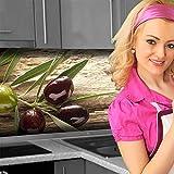 Küchenrückwand < Oliven > Premium Hart-PVC 0,4 mm selbstklebend 160x60cm