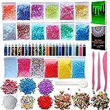 CozYours 68 Packs Slime fournitures Kit Inclut des boules de mousse,des bocaux à paillettes,des perles de poisson,des perles de riz,du papier de sucre, des tranches de gâteau, des accessoires de vase
