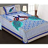 La Kanie Bedsheets - Peacock Traditional Rajasthani Jaipuri Print 100% Cotton Single Bedsheet With Pillow Cover (Blue)