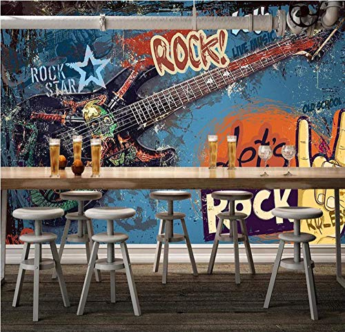 RQWBH Papel Pintado Autoadhesivo Murales En 3D (W) 450X (H) 300Cm Graffiti Nórdico Guitarra Música Rock Papel Tapiz Para Niños Decoración De La Pared Decoración Interior Niño Niñatorio Hote
