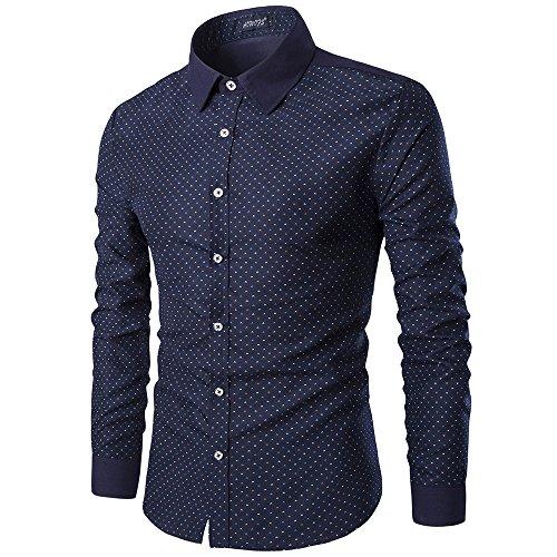 Minghe Chemises Habillées à Manches Longues Imprimées Slim Fit Col boutonné