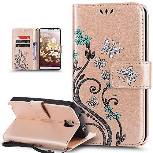Kompatibel mit Galaxy Note 3 Hülle,Galaxy Note 3 Schutzhülle,Bunte Gemalt Prägung Schmetterlings Blumen PU Lederhülle Flip Hülle Cover Ständer Wallet Tasche Case Schutzhülle für Galaxy Note 3,Gold -