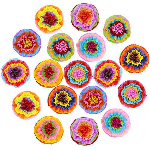 Supla 18 Stück Fiesta Papierblumen Pompons Blumen Seidenpapier Pom Pom Poms 39,1 cm breit für mexikanische Regenbogen-Party Fiesta Cinco De Mayo Party (Diy-gewebe Poms Pom)