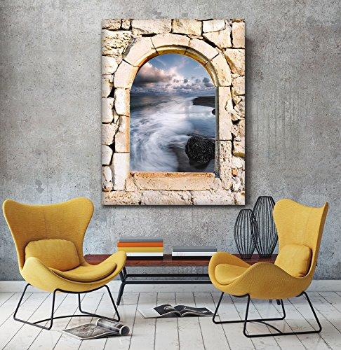 Misty onde 3d vista da una pietra arco finestra Stampa su tela Wall Art, XL, (Archi Wall Art)