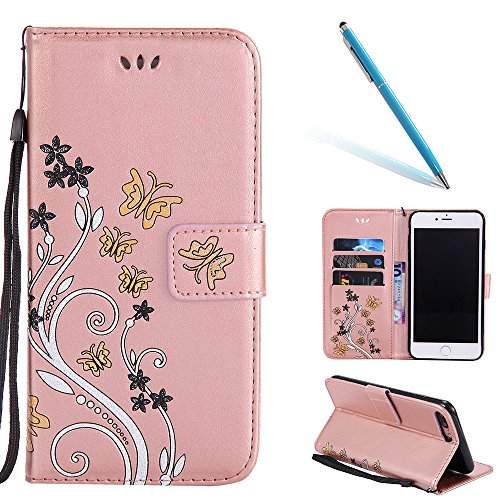 Cassa per Apple iPhone 7Plus 5.5(NON iPhone 7 4.7), CLTPY Colorato Painted Modello Back Cover, Wallet Case con Funzione del Kickstand e Slot Schede per iPhone 7Plus + 1x Stilo - Nude Rosa Oro Rosa