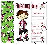 Edition Seidel Set 12 Einladungskarten Einladungen Kindergeburtstag Geburtstag Party Jungen mit Fußball Fussball-Motiv Postkarte Einladung