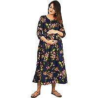 mylooms® Womens Maternity Dress Feeding Kurties Flared American Crepe Maternity Kurties with 2 Secured Vertical Feeding…