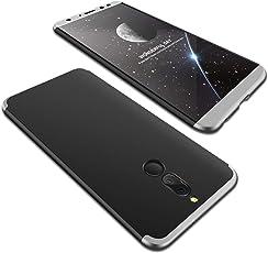 Misstars 3 in 1 Hart PC Hülle für Huawei Mate 10 Lite, Ultra Dünn Matt Handyhülle 360 Grad Komplettschutz Vorne und Hinten Schutzhülle Anti-Scratch Stoßfest Case für Huawei Mate 10 Lite - Silber + Schwarz